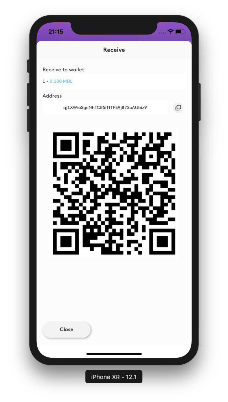 MDL IOs Wallet receive wallet