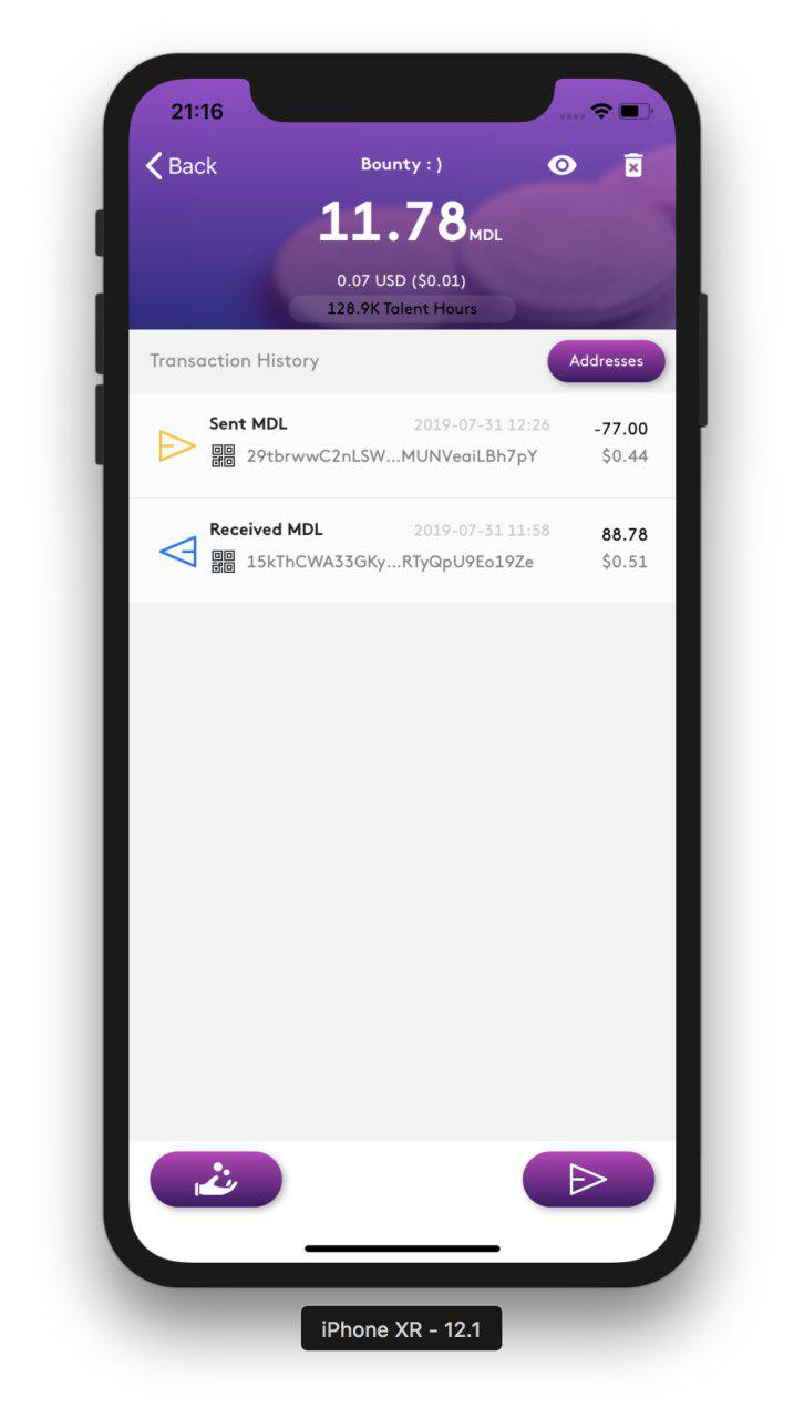 MDL IOs Wallet transaction history